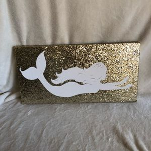 Gold Glitter Mermaid Canvas 24x12